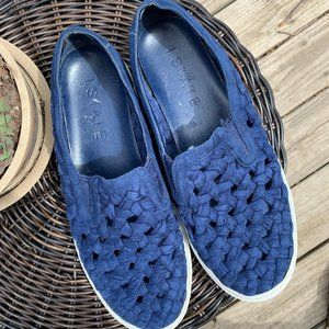 1 STATE Cobalt Blue Woven Suede Slip On Sneakers